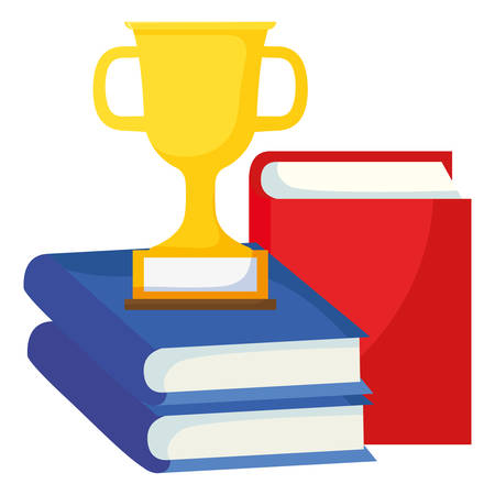 text books with trophy cup vector illustration design