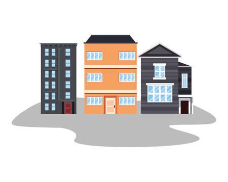 cityspace buildings urban on white background vector illustration Foto de archivo - 129254310