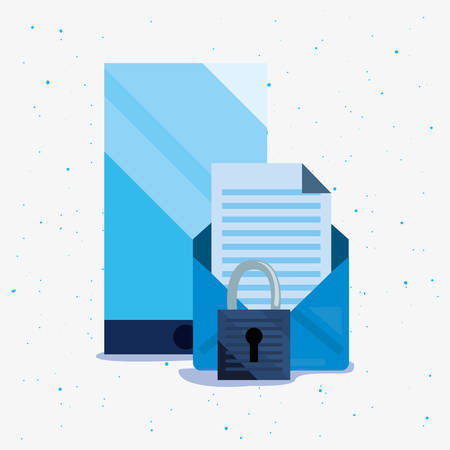 smartphone email padlock security cybersecurity data protection vector illustration