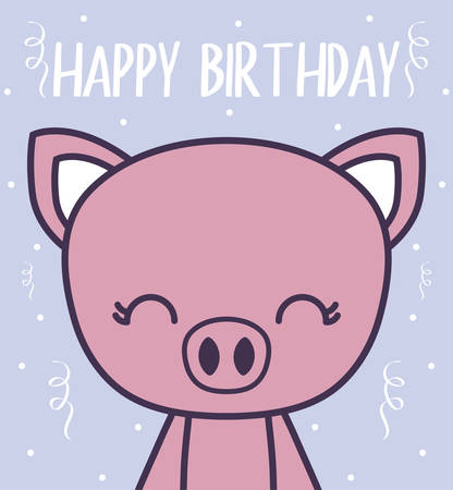 happy birthday card with cute piggy vector illustration design