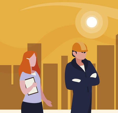 couple of professional workers in cityscape at sunset vector illustration design Illusztráció