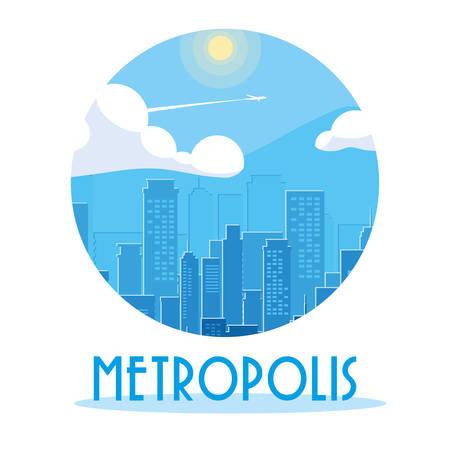 metropolis cityscape buildings scene vector illustration design Foto de archivo - 129254381