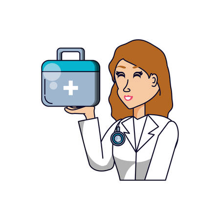 doctor female professional with first aid kit vector illustration design Ilustracja