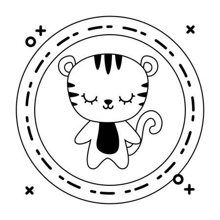 cute tiger animal with frame circular vector illustration design Ilustracja