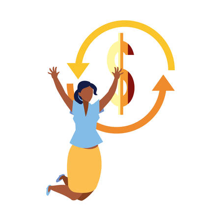 successful businesswoman money exchange vector illustration design