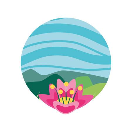 landscape nature in frame circular with flowers vector illustration design Standard-Bild - 129254414