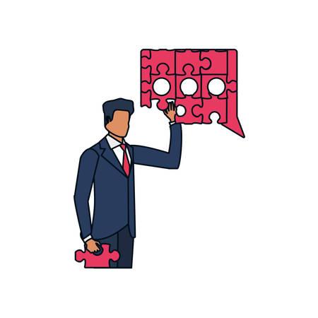 businessman with puzzle pieces in shape speech bubble vector illustration design