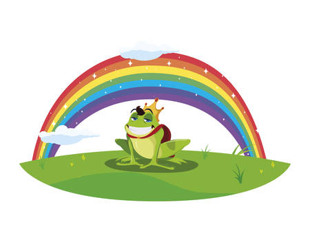 toad prince with rainbow fairytale character vector illustration design Çizim