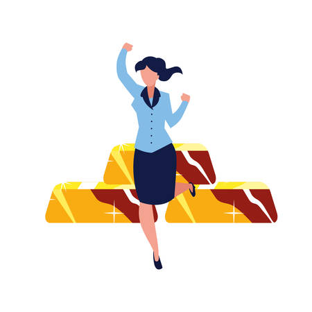 successful businesswoman gold bars fortune vector illustration