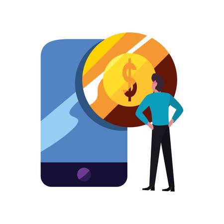 businessman cellphone money coin bank vector illustration vector illustration Ilustrace