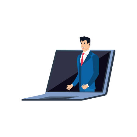 businessman elegant in laptop computer vector illustration design