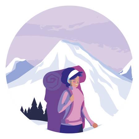 adventurous woman with travelbag in the snowscape vector illustration design Ilustração