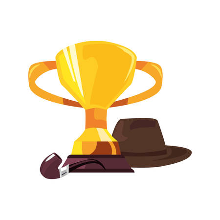 award trophy hat pipe happy fathers day vector illustration