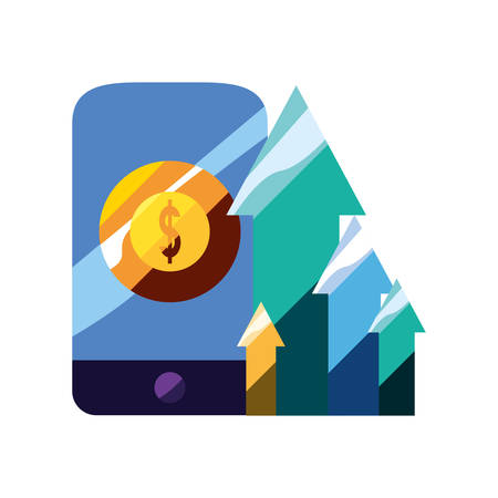 mobile money arrows increse app vector illustration