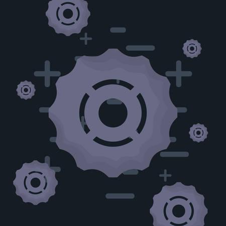 gear wheels pattern over black background, vector illustration 向量圖像