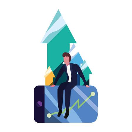 businessman cellphone diagram report vector illustration vector illustration Ilustracja
