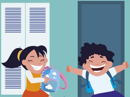 happy little school kids in the school corridor vector illustration design Zdjęcie Seryjne - 129254803