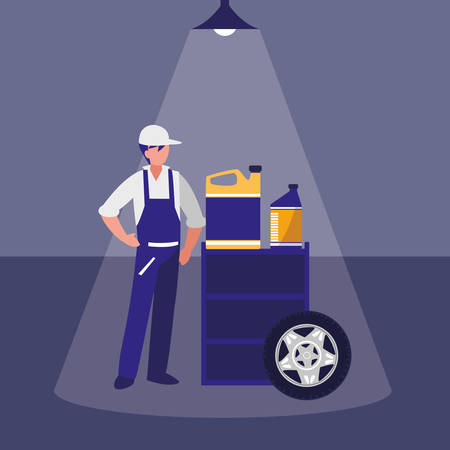 mechanic worker with oil gallon and tire track vector illustration design Stock Illustratie