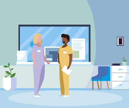 interracial couple medicine workers in reception hospital vector illustration design Ilustracja