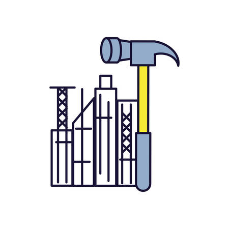 hammer tool with cityscape isolated icon vector illustration design Ilustrace