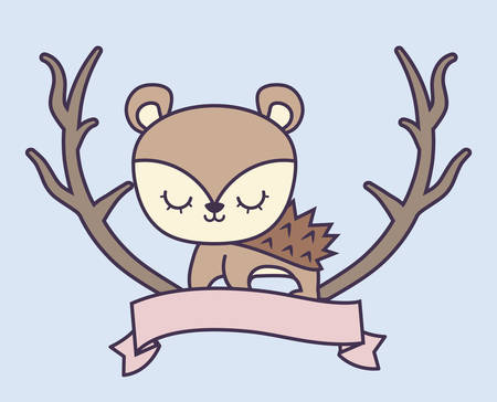 cute porcupine with ribbon and branches vector illustration design