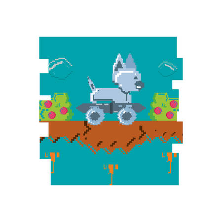 video game pixelated robotic dog with skateboard vector illustration design Illustration