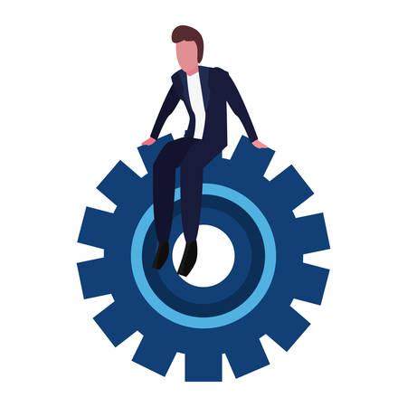 businessman sitting on gear on white background vector illustration