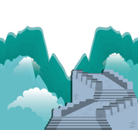 chinese wall isolated icon vector illustration design  イラスト・ベクター素材