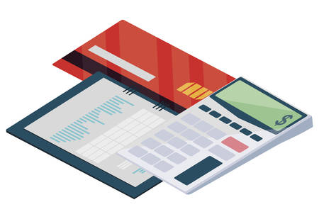 credit card with calculator math vector illustration design
