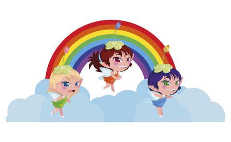 beautiful magic fairies with rainbow scene vector illustration design