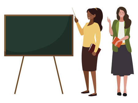 interracial female teachers couple with textbooks and chalkboard vector illustration Ilustração