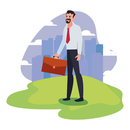 businessman with briefcase standing city background vector illustration 向量圖像