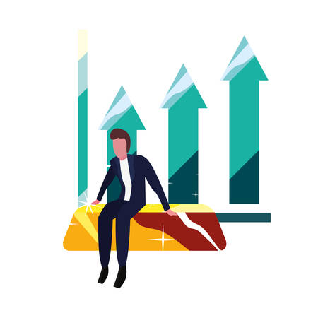 businessman gold bar diagram business vector illustration vector illustration