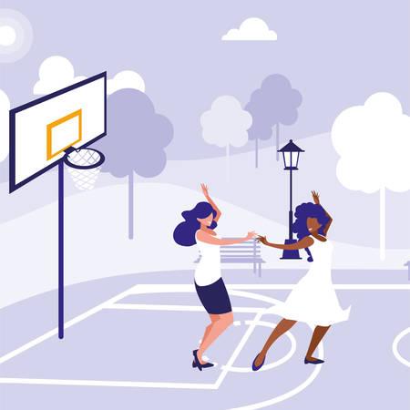 young interracial girls dancing in the park vector illustration design Иллюстрация