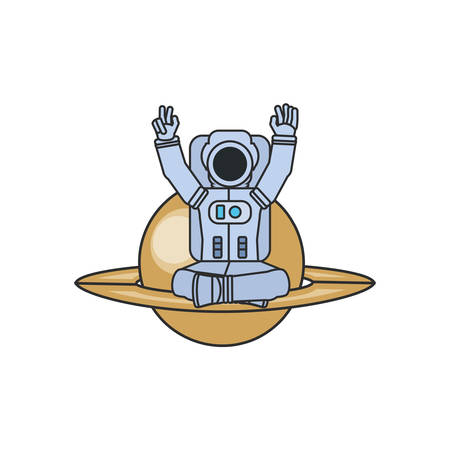 astronaut suit seated in planet saturn vector illustration design