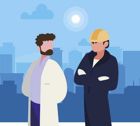 couple of professional workers in cityscape at sunrise vector illustration design