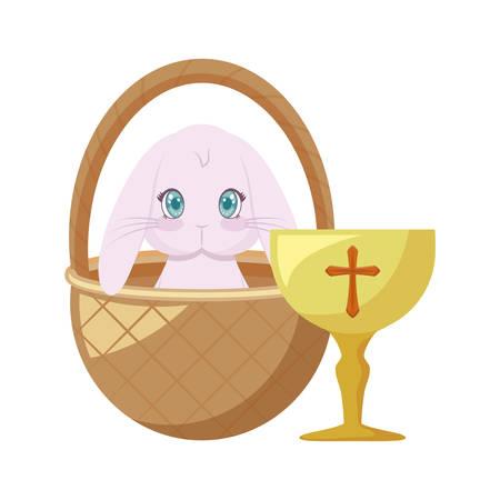 chalice with rabbit in basket wicker vector illustration design