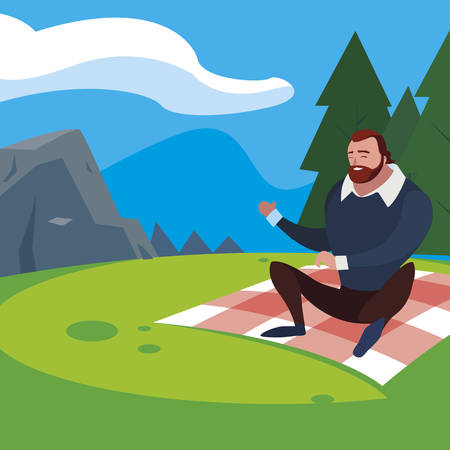 man seated in the field picnic day vector illustration design  イラスト・ベクター素材