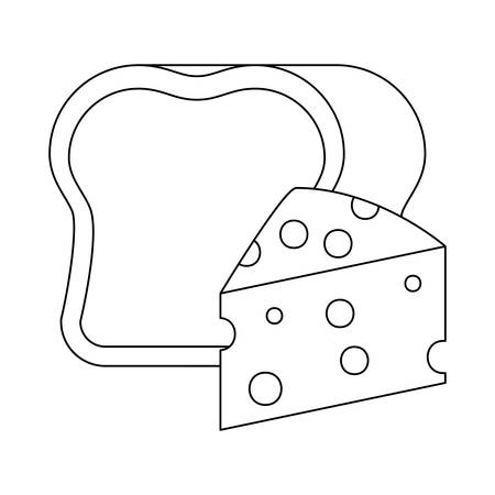 delicious cheese with bread isolated icon vector illustration design