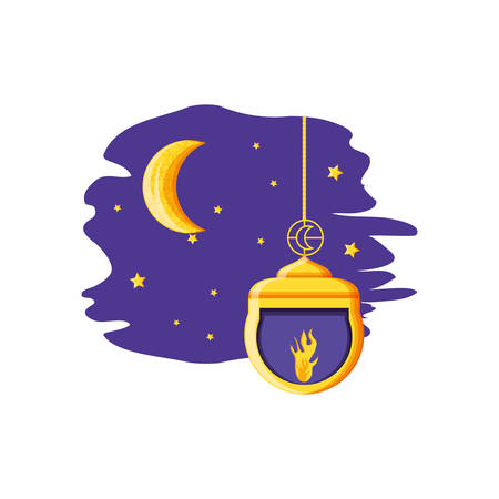 Ramadan Kareem lamp with moon vector illustration design Banque d'images - 129309575