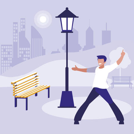 young dancer disco style in the park vector illustration design Çizim