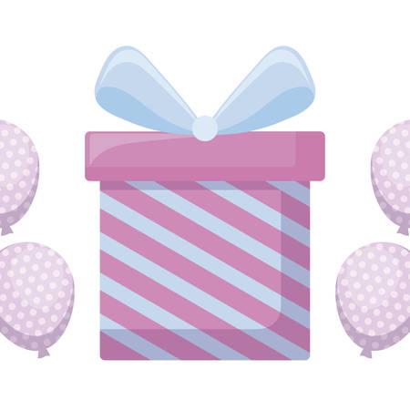 gift box present with balloons helium vector illustration design Ilustracja
