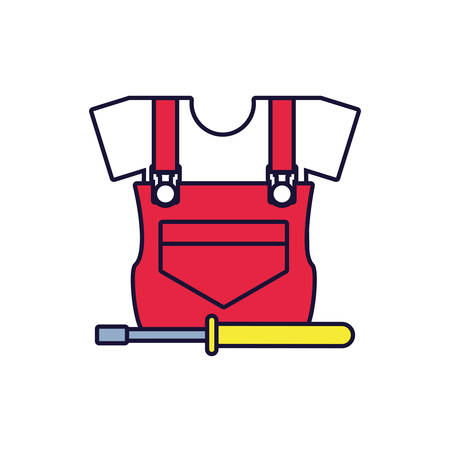 overall uniform construction with screwdriver vector illustration design