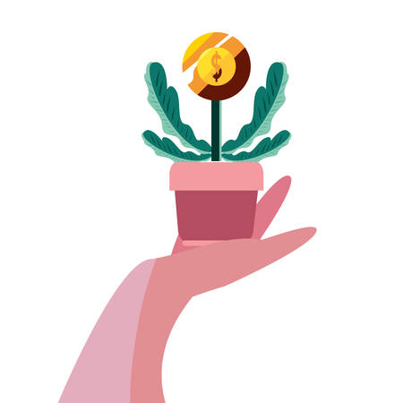 hand with potted plant coin vector illustration