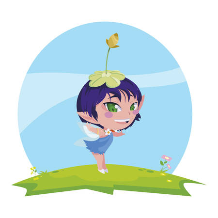 beautiful magic fairy character in the camp vector illustration design