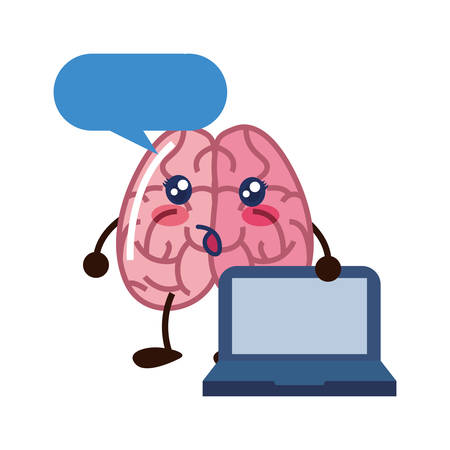 brain cartoon creativity on white background vector illustration