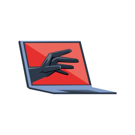 laptop computer with virus attack vector illustration design Çizim