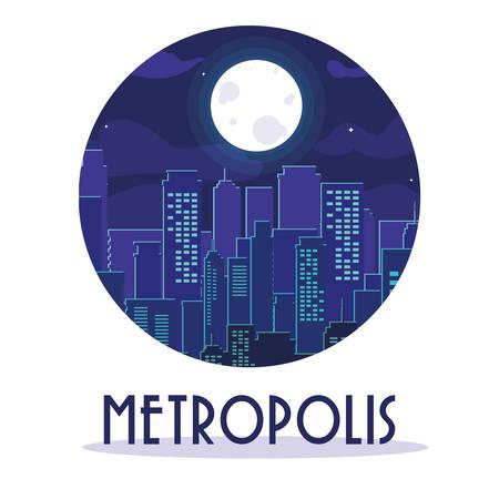 metropolis cityscape buildings night scene vector illustration design