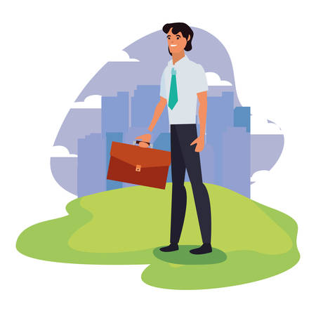 businessman with briefcase standing city background vector illustration Stock Vector - 129328825