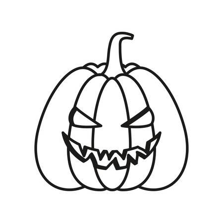cartoon halloween pumpkin over white background, vector illustration